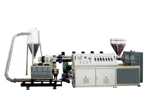 Air-cooling die-cut waste plastic recycling line